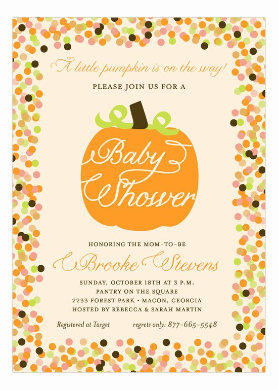 Fall Party Invitation Template Lovely Fall Baby Shower Pumpkin Invitation
