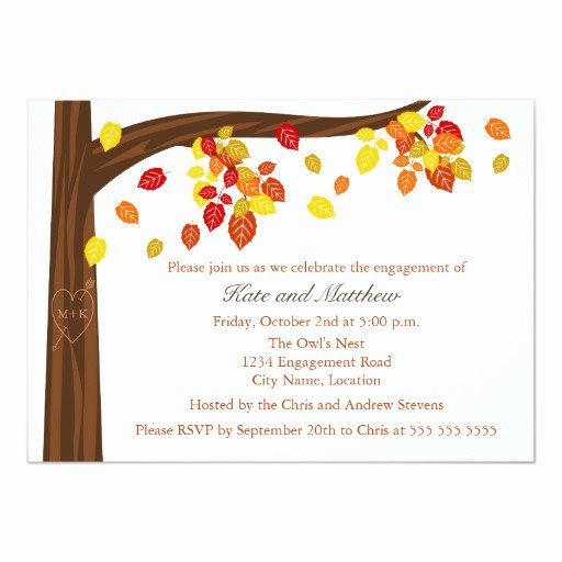 Fall Party Invitation Template Luxury Autumn Falling Leaves Engagement Party Invitation