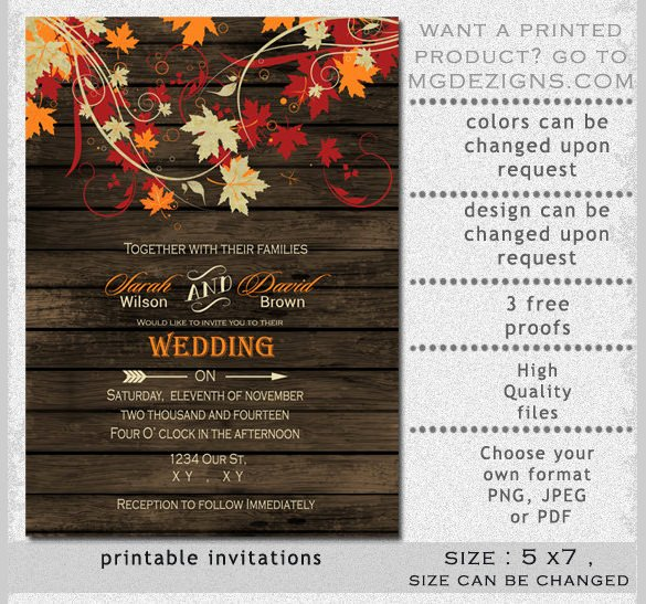 Fall Party Invitation Template New 26 Fall Wedding Invitation Templates – Free Sample