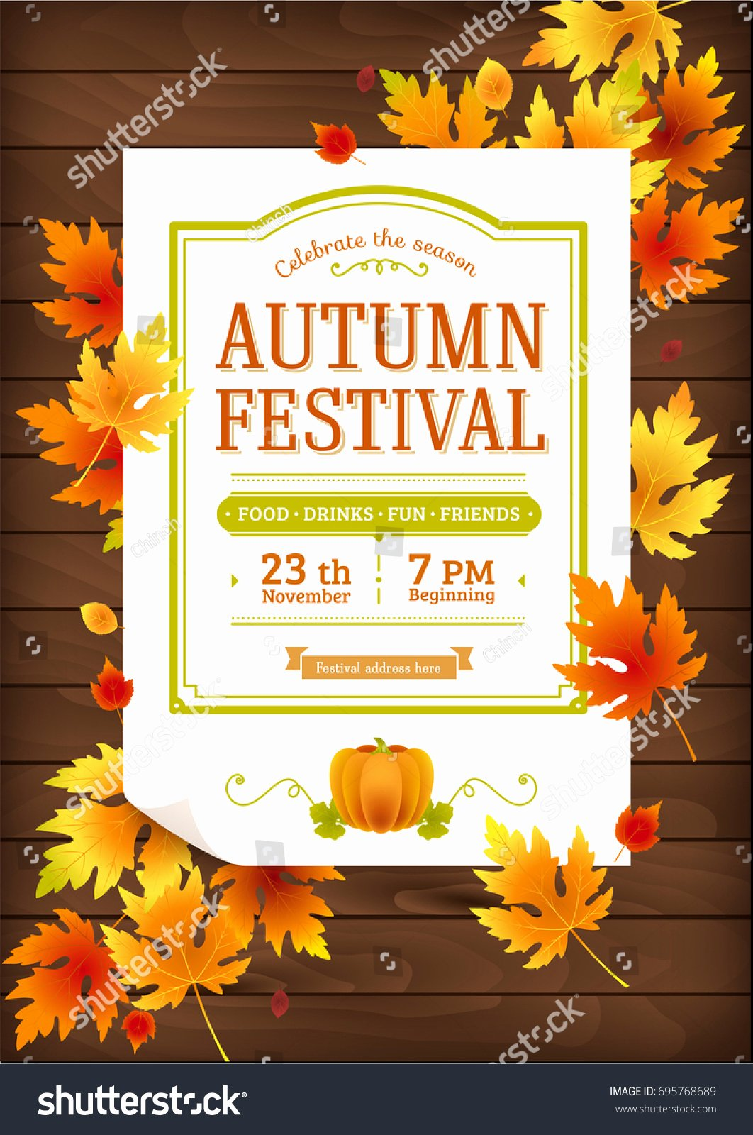 Fall Party Invitation Template New Autumn Festival Fall Party Invitation Autumn Stock Vector