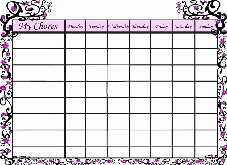 Family Chore Chart Template Best Of Free Blank Chore Charts Templates
