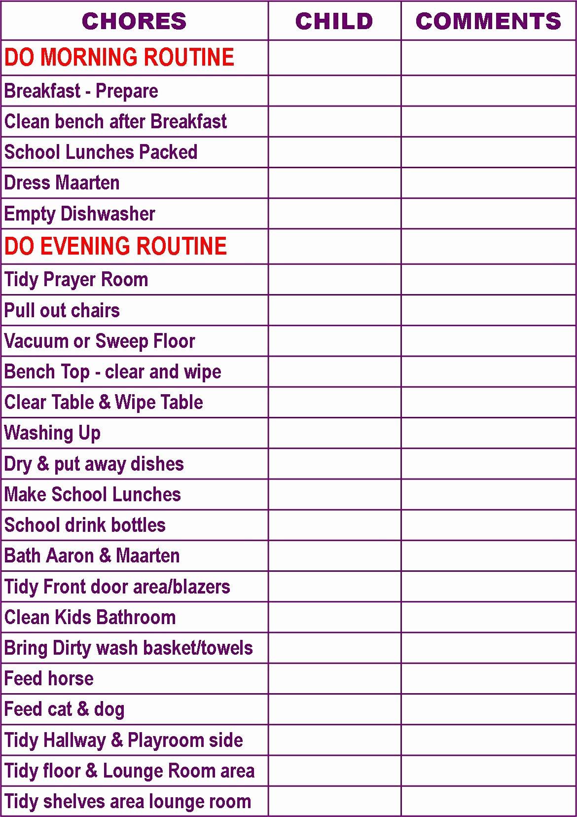 Family Chore Chart Template Elegant 5 Best Of Family Chore Chart Printable