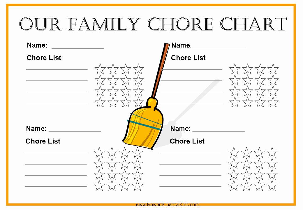 Family Chore Chart Template Inspirational Free Family Chore Chart