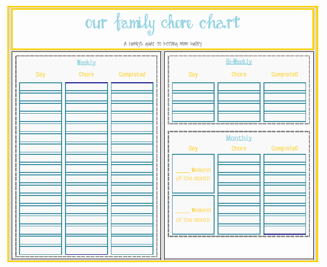 Family Chore Chart Template Lovely Chart Template Category Page 73 Efoza