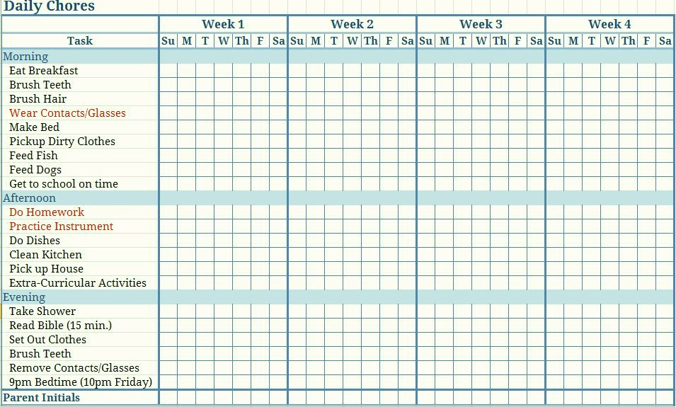 Family Chore Chart Template Lovely Free Printable Chore Charts Template