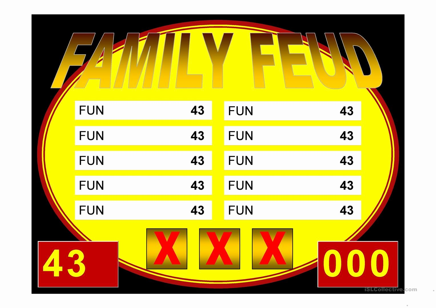 Family Feud Game Template Beautiful Family Feud Game Power Point Template Worksheet Free Esl