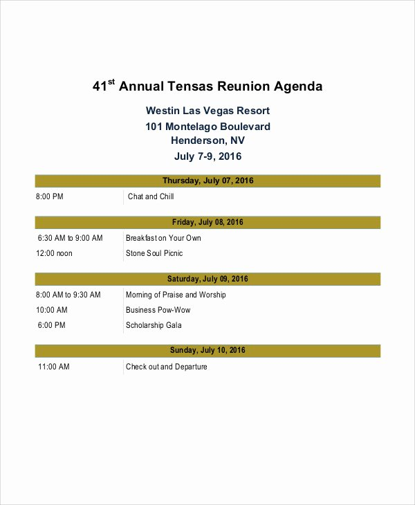 Family Reunion Agenda Template Awesome 8 Reunion Agenda Templates Free Sample Example format