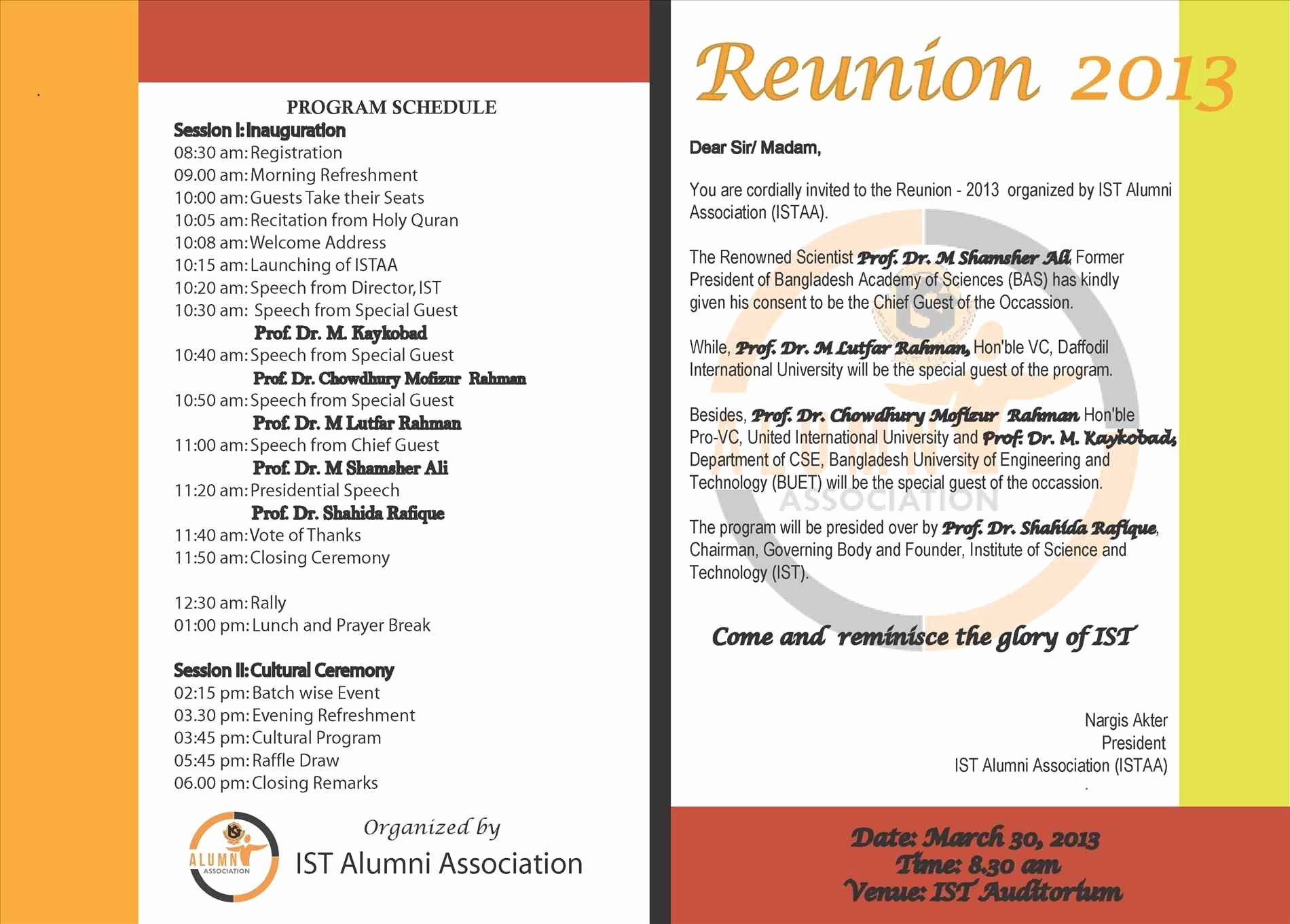 Family Reunion Agenda Template Beautiful Class Reunion Invitations Templates
