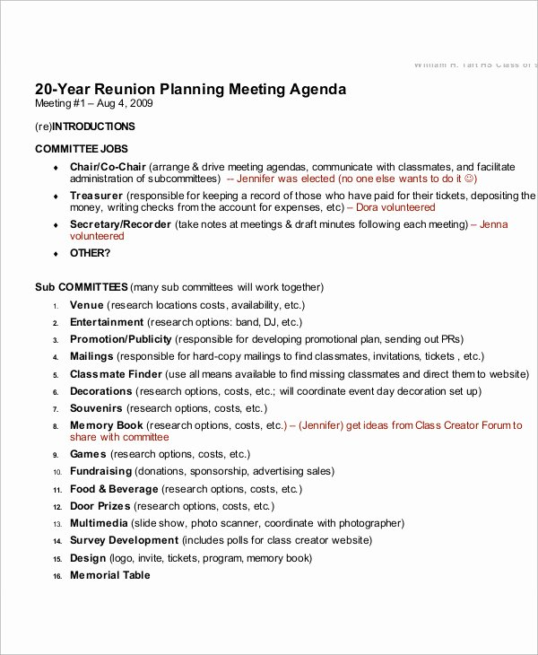 Family Reunion Agenda Template Inspirational 8 Reunion Agenda Templates Free Sample Example format