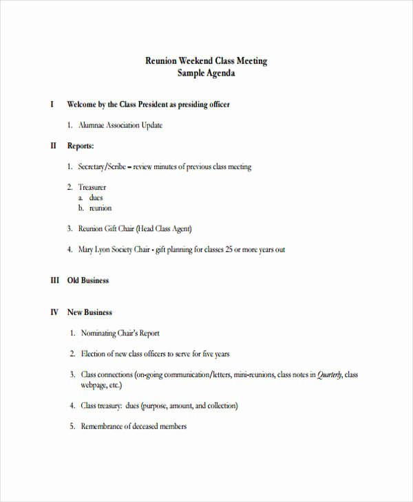 Family Reunion Agenda Template Inspirational 9 Reunion Agenda Templates Free Word Pdf format