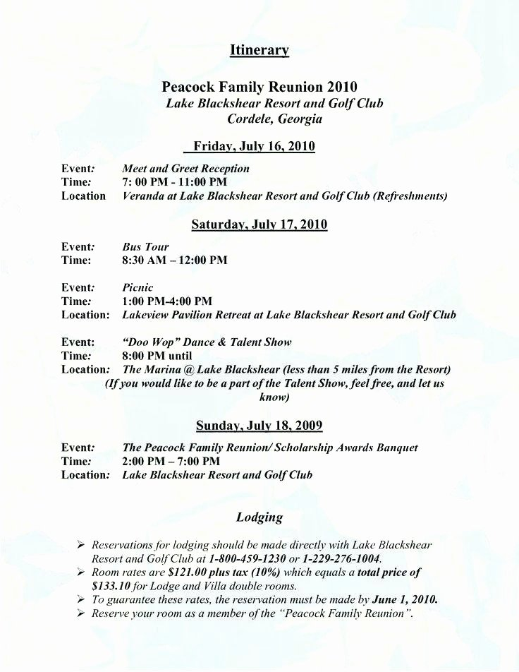 Family Reunion Agenda Template New 9 10 Family Reunion Programme Sample