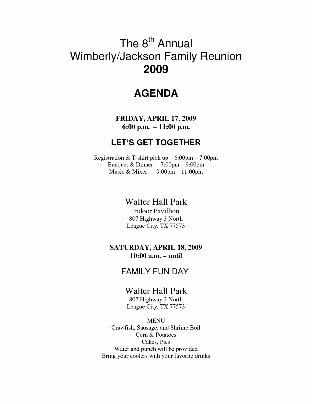 Family Reunion Agenda Template New African American Family Reunion Agenda to Pin On