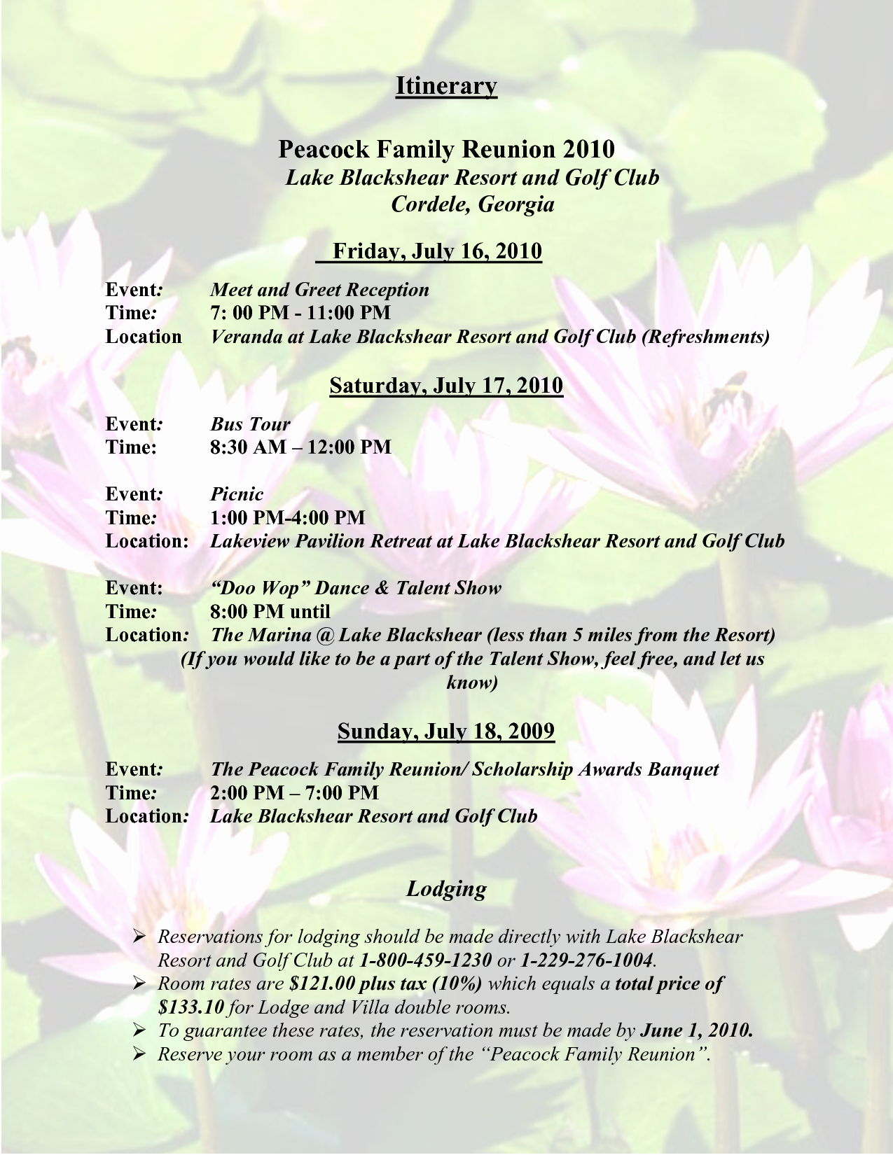 Family Reunion Agenda Template New Sample Family Reunion Program Templates