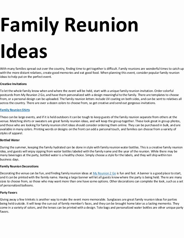 Family Reunion Letter Template Awesome Family Reunion Ideas