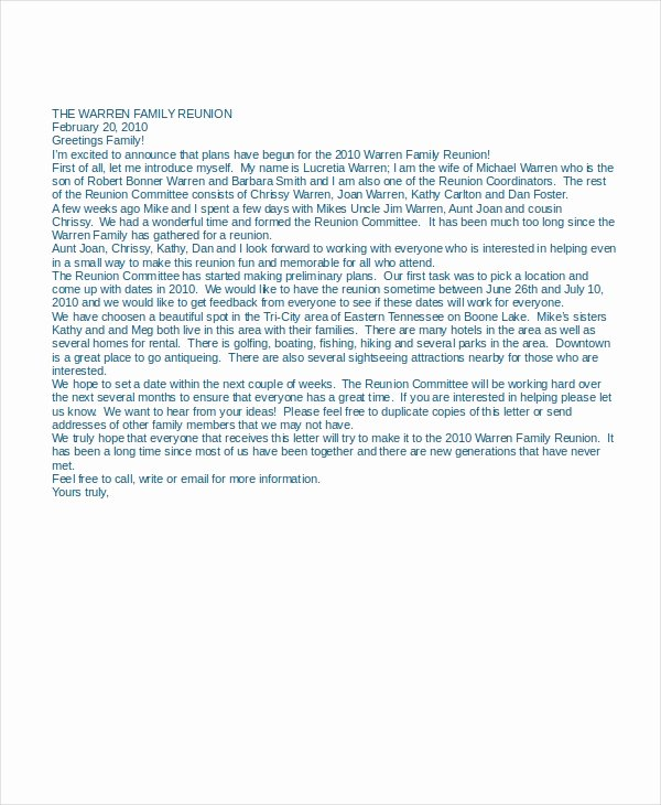 Family Reunion Letter Template Fresh 13 Letter Of Introduction Examples Pdf Doc