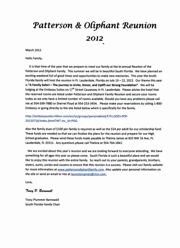 Family Reunion Letter Template Lovely 17 Best Images About Family Reunion Ideas On Pinterest