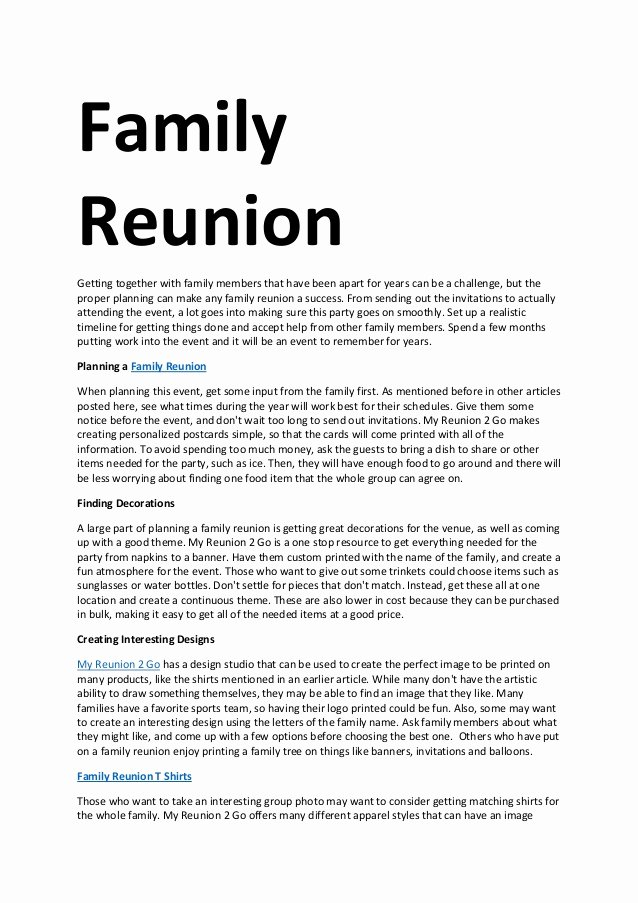 Family Reunion Letter Template Lovely Family Reunion