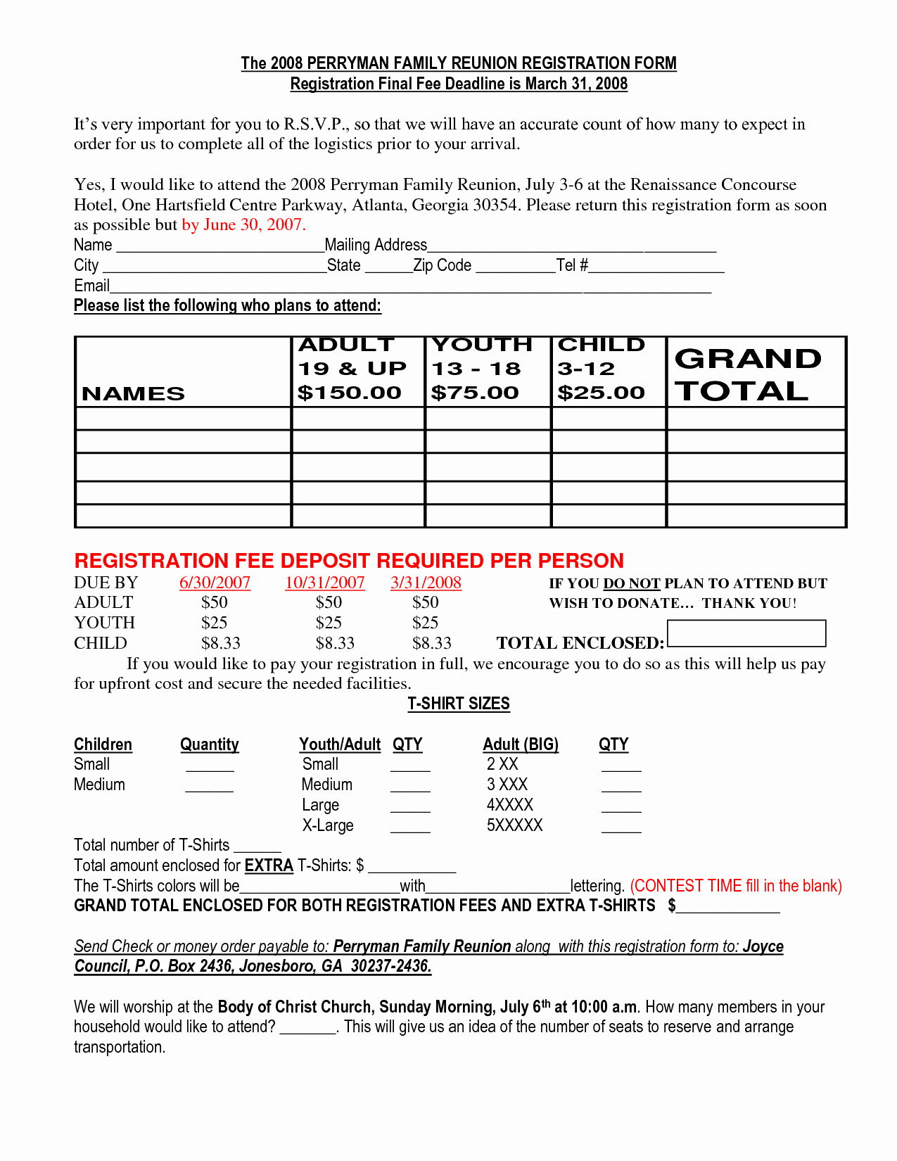 Family Reunion Letter Template Lovely Family Reunion Registration Packet