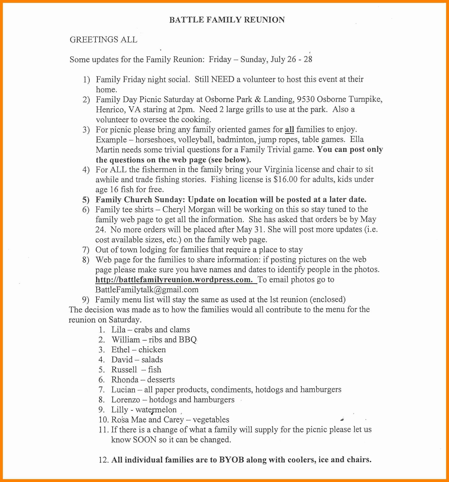 Family Reunion Letter Template New Sample Family Reunion Invitation Letter