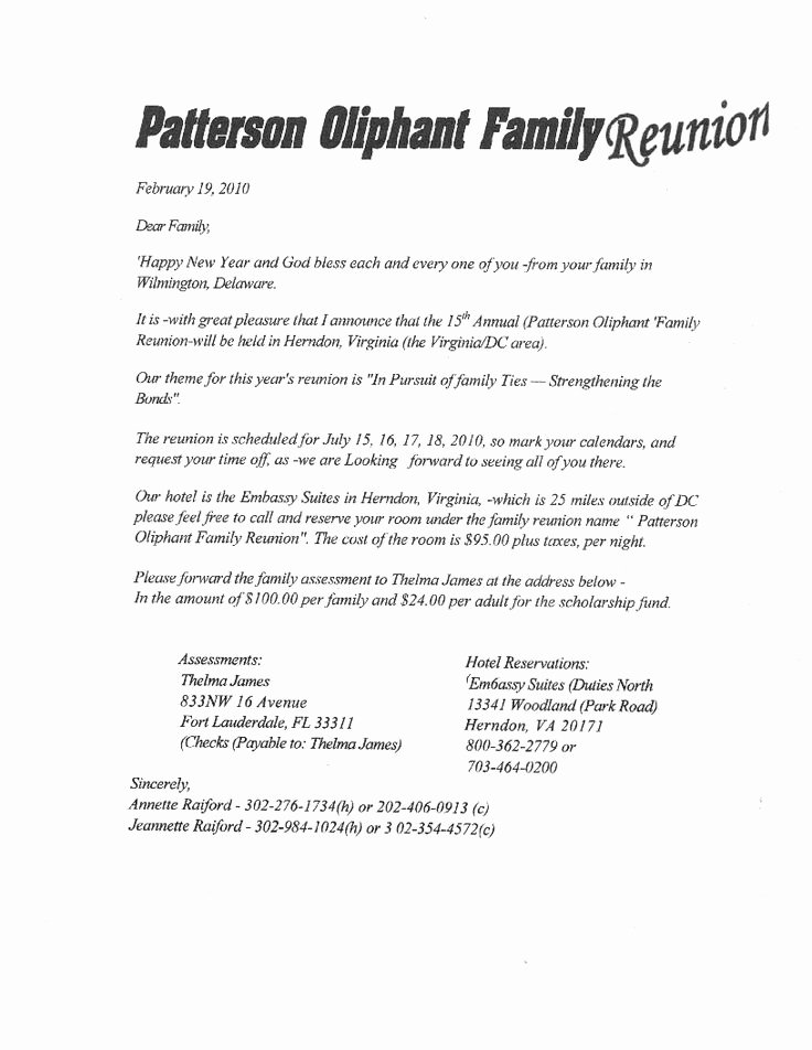 Family Reunion Letters Template Awesome Printable Example Of Family Reunion Program
