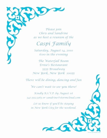 Family Reunion Letters Template Beautiful Invitation Letter Reunion