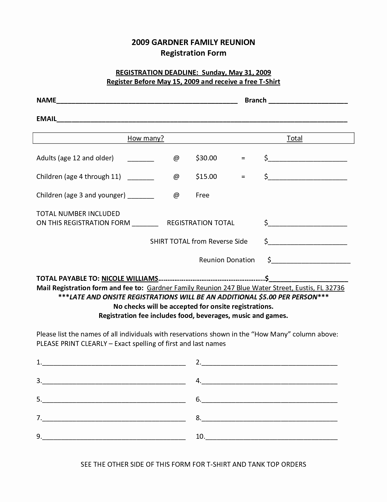 post family reunion forms printable