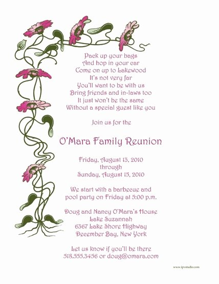 Family Reunion Letters Template Lovely Family Reunion Invitation Letter