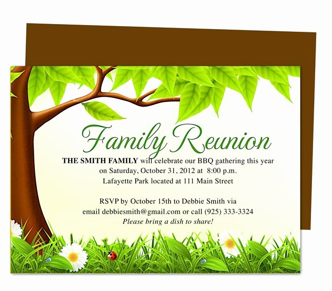 Family Reunion Program Template Fresh Family Tree Reunion Party Invitations Templates