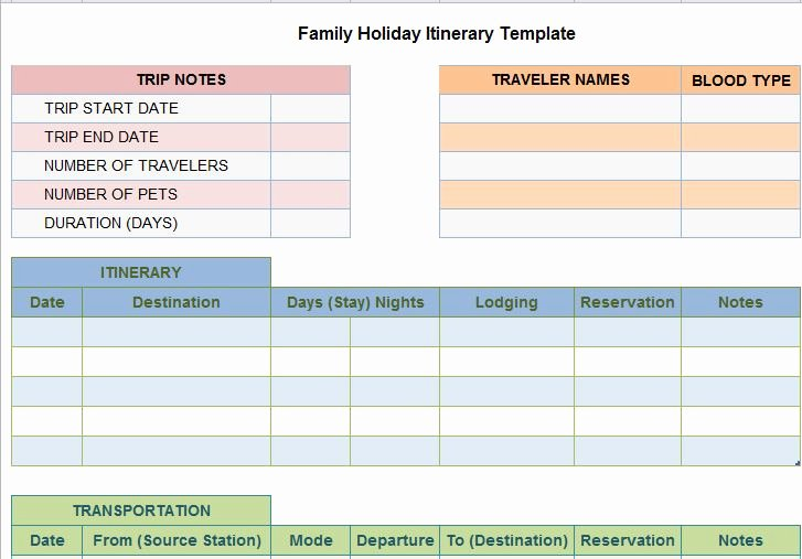 Family Vacation Planner Template Elegant 30 Itinerary Templates Travel Vacation Trip Flight