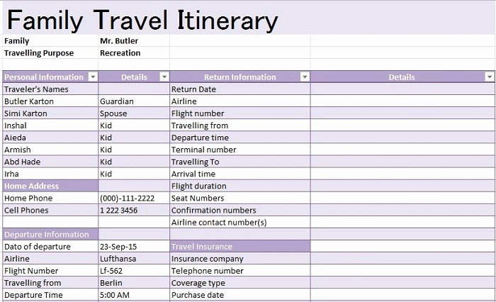 Family Vacation Planner Template Unique 30 Itinerary Templates Travel Vacation Trip Flight