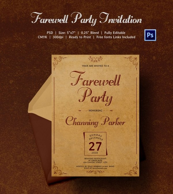 Farewell Invitation Template Free Beautiful Farewell Party Invitation Template 25 Free Psd format