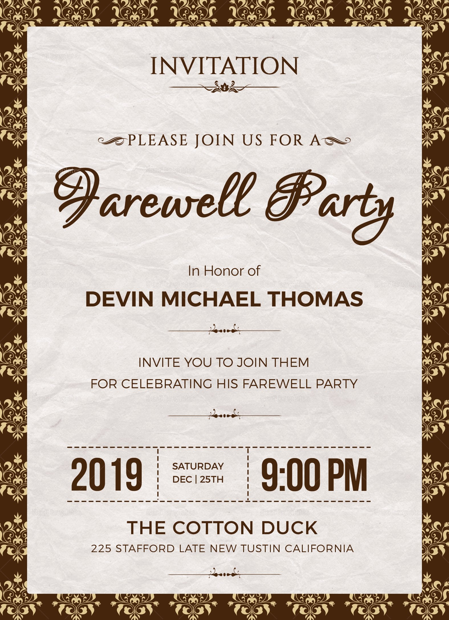 Farewell Invitation Template Free Fresh Farewell Invitation Design Template In Word Psd Publisher
