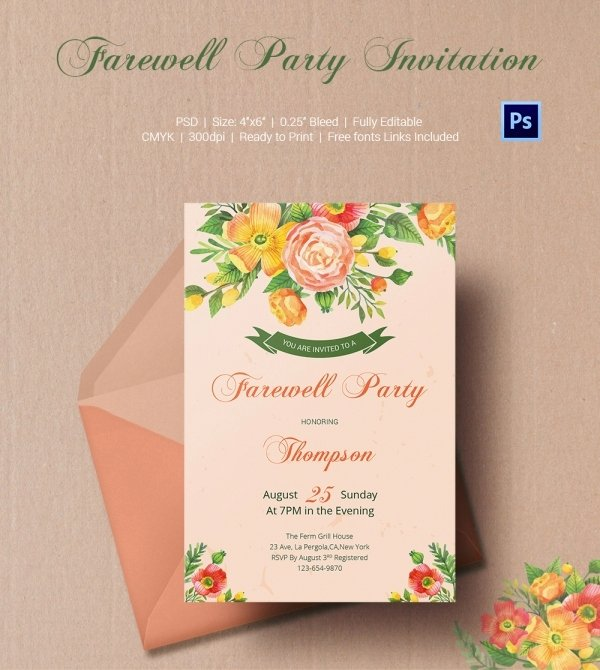 Farewell Invitation Template Free Fresh Farewell Party Invitation Template 25 Free Psd format