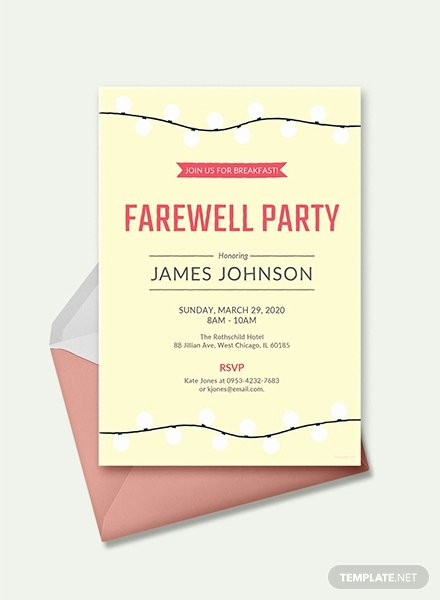 Farewell Invitation Template Free Unique Free Farewell Breakfast Invitation Template In Ms Word