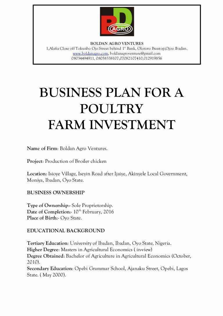 Farm Business Plan Template Awesome Business Plan for A Poultry Farm Investment