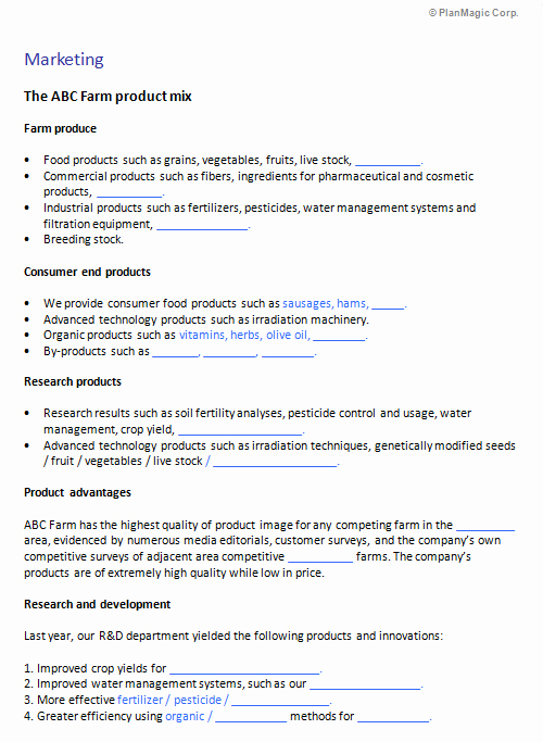 Farm Business Plan Template Fresh Business Plan Template Cosmetics Pany Boisefrycopdx