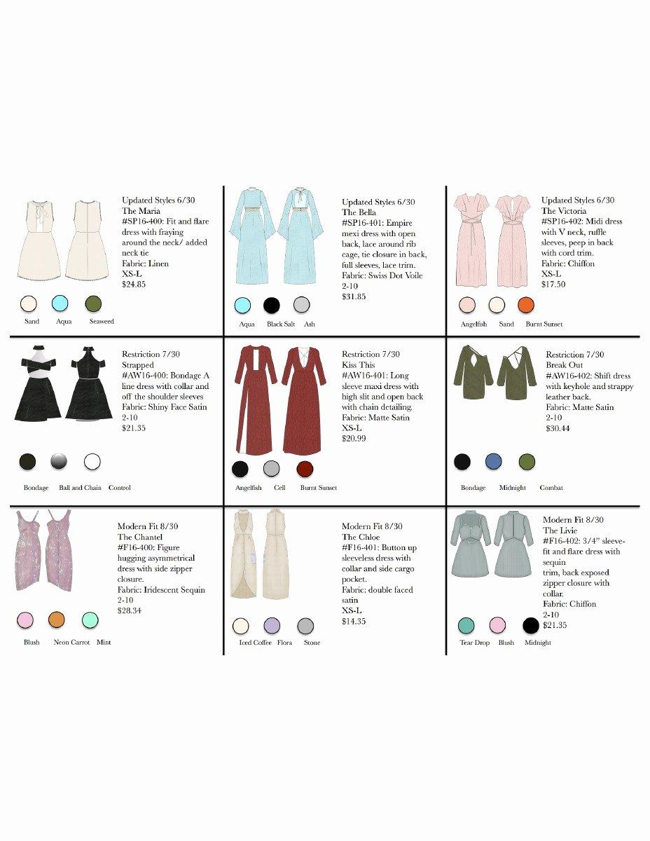 Fashion Line Sheet Template Elegant Line Sheet for Zara On Behance
