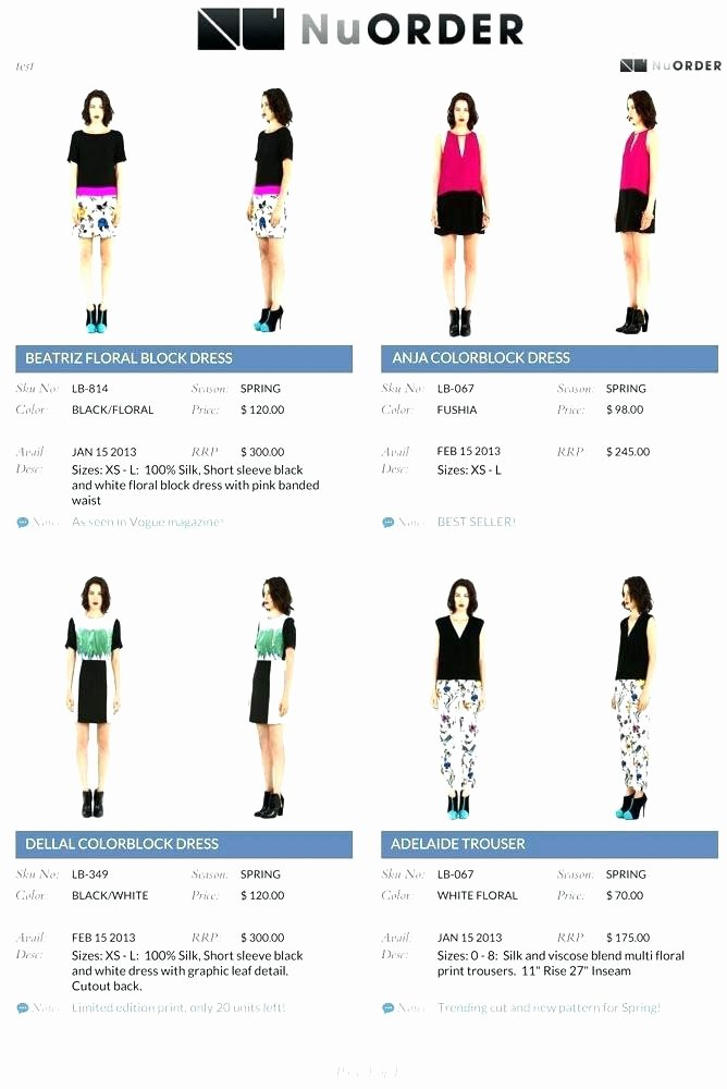 Fashion Line Sheet Template Inspirational Fashion Line Sheet Template