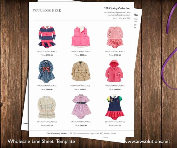 Fashion Line Sheet Template Lovely Vertical Line Sheet wholesale Catalog Template Mini Product