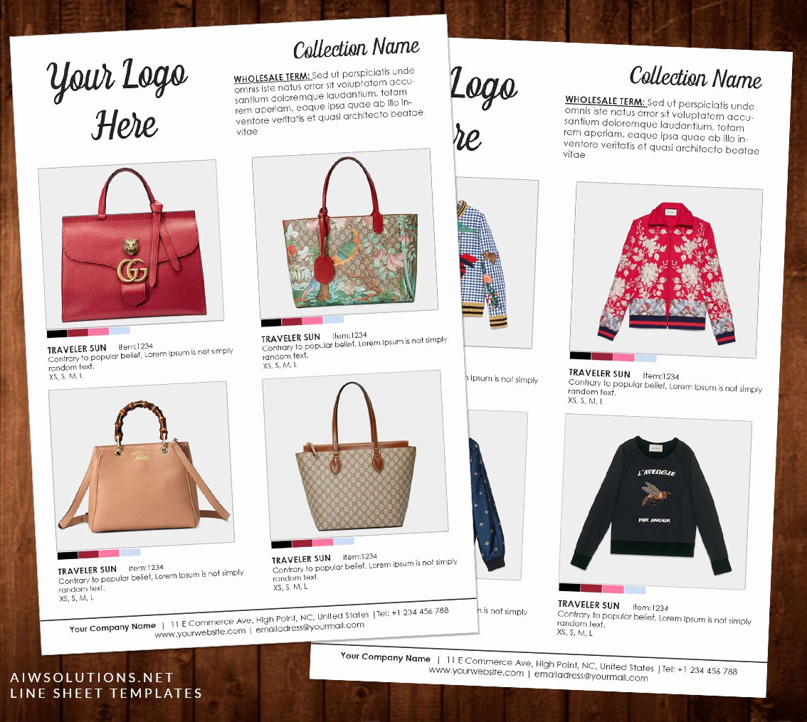 Fashion Line Sheet Template Luxury wholesale Catalog Template Product Catalog Indesign