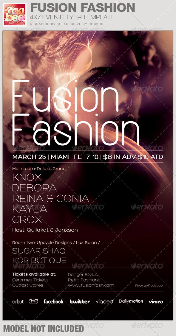 Fashion Show Flyer Template New Fusion Fashion event Flyer Template by Rockibee