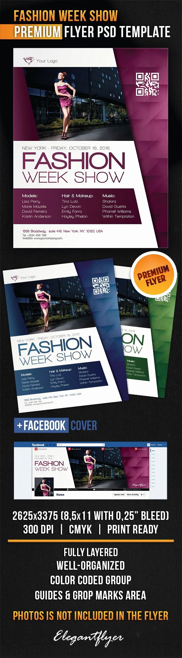 Fashion Show Flyer Template Unique Fashion Week Show Flyer Psd Template Cover