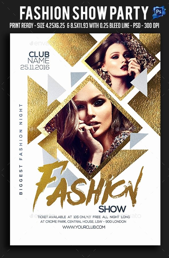 Fashion Show Flyers Template New Fashion Show Party Flyer Template Psd
