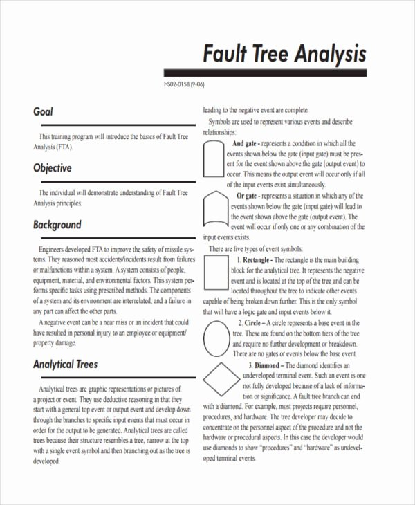 Fault Tree Analysis Template Elegant 10 Fault Tree Analysis Examples & Samples