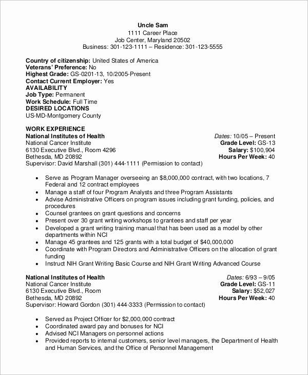 Federal Resume Template Word Elegant 8 Sample Federal Resumes