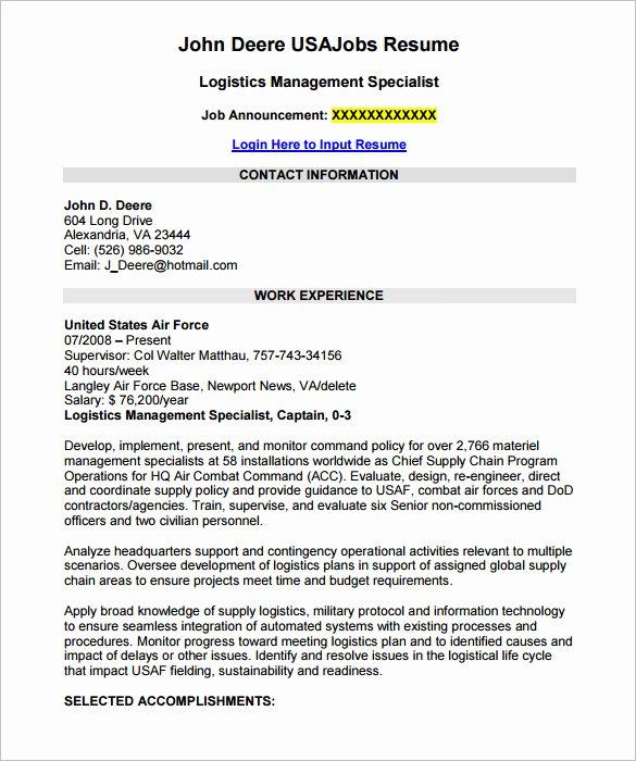 Federal Resume Template Word Fresh 7 Federal Resume Template Word Pdf