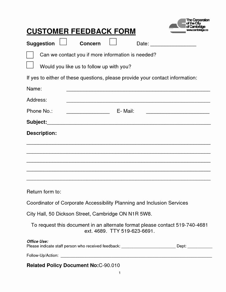 Feedback form Template Word Beautiful Customer Feedback form Sample for Product or Service