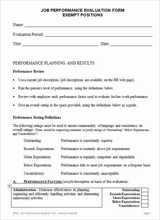 Feedback form Template Word Beautiful Sample Employee Evaluation form Sarahepps