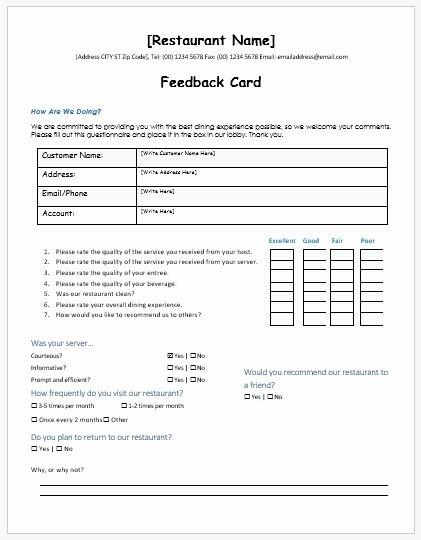 restaurant customer feedback forms