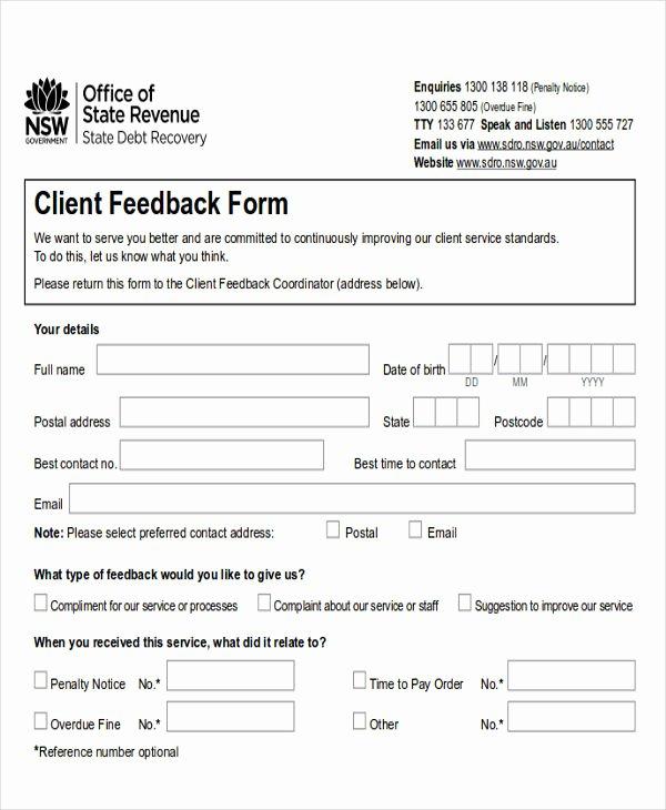Feedback form Template Word Elegant Sample Client Feedback form In Word 8 Examples In Word